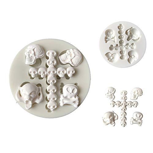 Slendima Silicone Halloween Skull Head Pattern Fondant Cake Mold Sugarcraft DIY Decorating Baking Tool]()