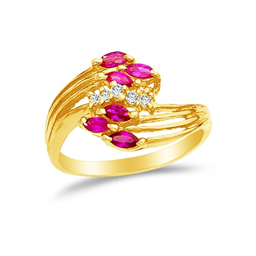 Marquise Created Moissanite Ring (Size - 7 - 14k Yellow Gold Highest Quality CZ Cubic Zirconia Fancy Fashion Marquise Ruby Ring)
