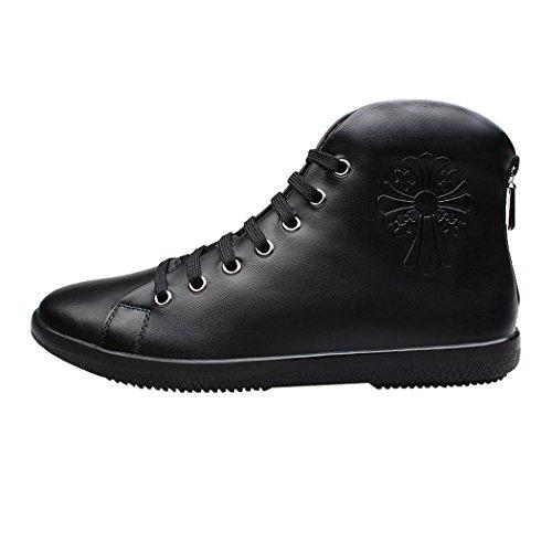 Sun Lorence Uomo Inverno Foderato In Pelliccia Alta Top Sneakers In Pelle Con Cerniera Posteriore Stivali Da Neve Caldi Nero1