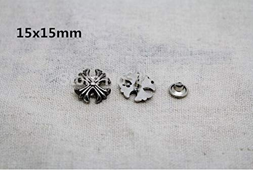 Garment Rivet - 50Pcs/lot 15mm Antique Silver Retro Chrome Studs Spots Rivets Spikes Bag Belt Leathercraft DIY Nailhead 50pcs
