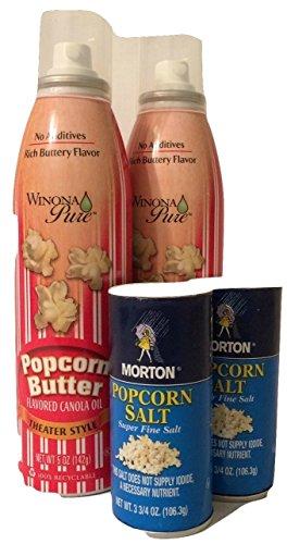 Winona Pure Popcorn Butter Spray + Morton Popcorn Super Fine Salt (4 Items) (Butter Flavored Spray compare prices)