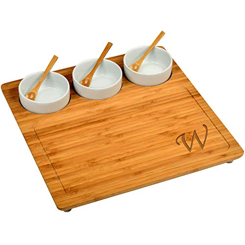 Picnic at Ascot Personalized Engraved Bamboo Cheese Board/Charcuterie Platter - Includes 3 Ceramic Bowls with Bamboo Spoons - 13