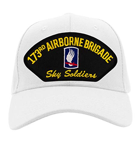 (Patchtown 173rd Airborne Brigade Hat - Sky Soldiers/Ballcap (Black) Adjustable One Size Fits Most (White, Add American Flag))