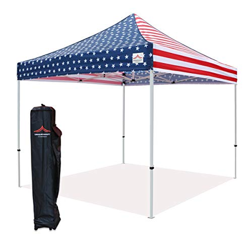 (UNIQUECANOPY 10x10 Ez Pop up Canopy Tents for Parties Outdoor Portable Instant Folded Commercial Popup Shelter, with Wheeled Carrying Bag Flag)