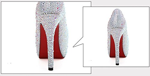 Scarpe Da Sposa Bling Sparkle Scarpe Principessa Cristallo Bianco Tacco 11cm Bianco