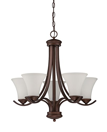 Jeremiah 38225-OB Arabella 5 Light Chandelier with White Frosted Glass, Old Bronze 1 Tier Frosted Glass Chandelier