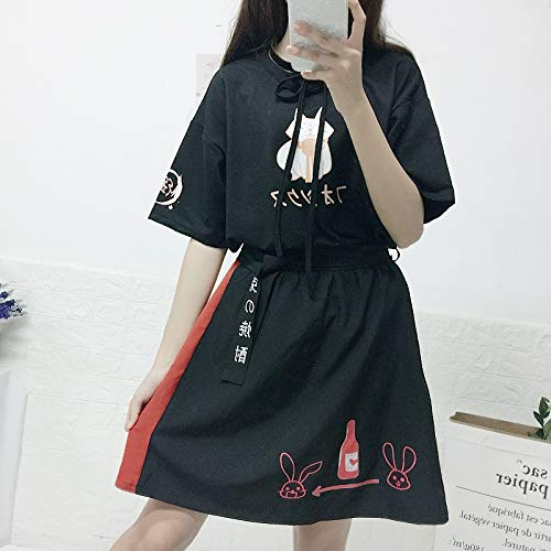 Summer New Cat Print Bow Short T-Shirt + Skirt 2 Piece Sets Clothing by MV (Image #1)