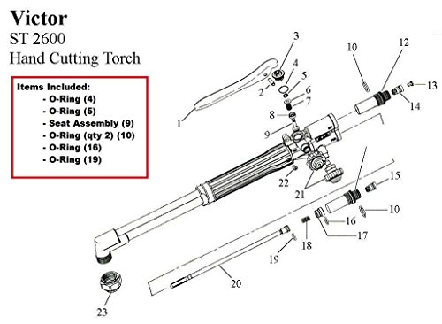 Victor ST2600 ST2600FC Cutting Torch Rebuild/Repair Parts Kit ()