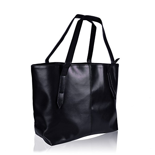 - HDE Womens Leather Tote Bag Carryall Handbag Purse (Black)
