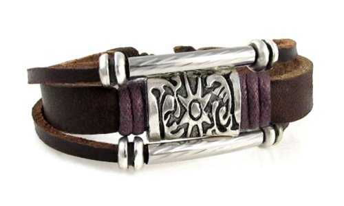 (Beautiful Silver Jewelry Hip Silver-tone Sun Medallion Multi-strand Leather Zen Bracelet, Adjustable Size, in Gift Box)
