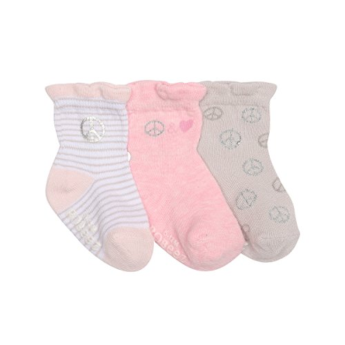Robeez Baby Girls 3-Pack Socks, Peace/Love/Pink/Grey/White, 0-6 Months