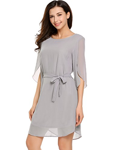 ACEVOG Women Dress Chiffon Casual Tunic Flowy Belt Neutral with Grey Cuffed Sleeve Loose rrdXn8