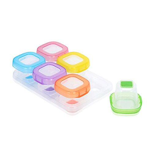 Upgraded Baby Reusable Food Storage Freezer Containers Kirecoo Spill Proof Easy-out Soft Silicone Bottom Cubes - 6 Pieces, 2 Ounce