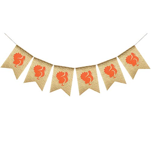 Uniwish Turkey Burlap Banner Fall Thanksgiving Garland Bunting Party Decorations, Vintage Rustic Mantle Home Decor Thanksgiving Day Photo Props
