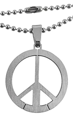 Gunmetal Peace Sign Pendant W/ Bead Necklace - Gunmetal Collana Mens