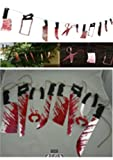 Gory Halloween Hanging Garland - 2-Pack Bloody Weapons Decoration Party Supplies, Banner Haunted House Decor, Blood Spatter Butcher Knife Cleaver Hacksaw Props, 6 Feet