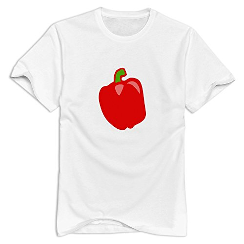 CUAUNED Red Pepper T-shirt For Men - S White Retro 100% Cotton White T Shirts ()