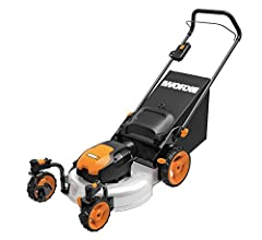 The WORX WG719 19-Inch 13 Amp Caster Wheeled Electric Lawn Mower is a 3-in-1 mower that mulches, bags and side discharges. The caster wheel design provides extra maneuverability for an easier, more efficient cut. The Steel cutting deck provid...