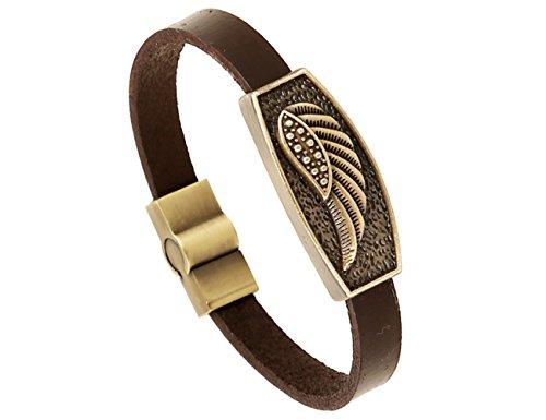 Konalla Wing Simple Brown Leather Magnetic Snap Bangle Bracelet for Men, 8