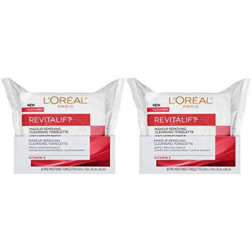 (L'Oreal Paris Revitalift Makeup Removing Wipes with Vitamin E, Face Cleansing Towelettes, 30 Count, Pack of 2)