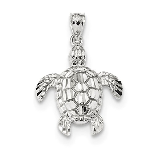 Roy Rose Jewelry 14k White Gold Diamond-cut Polished Sea Turtle Pendant (White Gold Turtle)