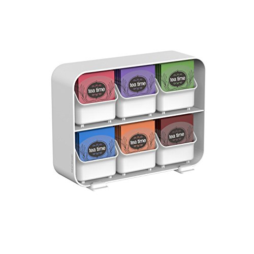 Mind Reader 'Clutch' 6 Drawer Tea Bag Holder, (Reader White Box)