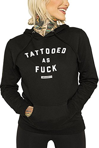 C42 Black Ink - InkAddict Tattooed As Fuck Womens Black Pullover White XLarge