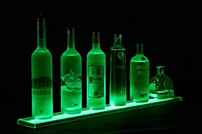 LED Liquor Shelf and Bottle Display (3 ft Length) - Programmable Shelving Includes Wall Mount Brackets, Wireless Remote, and Power Supply - COMFORTABLY HOLDS 7 - 9 BOTTLES