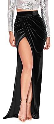 WSPLYSPJY Women's Velvet Satin Slim Fit Side Slit Ruched Maxi Skirt