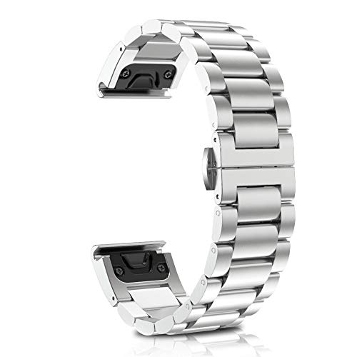 ANCOOL Compatible Garmin Fenix 5 Easy Fit Band 22mm Replacement Stainless Steel Metal Band for Garmin Fenix 5 / 5Plus - Silver
