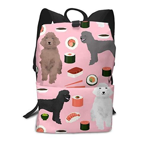 (Backpack poodles dog sushi cute poodle coats colors lover blossom pink Laptop Backpack Student School Bookbag Casual Durable Rucksack Travel Daypack)