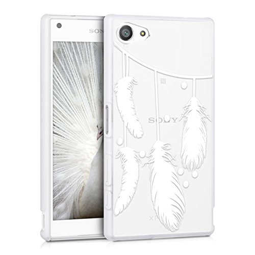 kwmobile Crystal Case for Sony Xperia Z5 Compact with Design feathers chain - transparent Protection Case Cover clear in white transparent