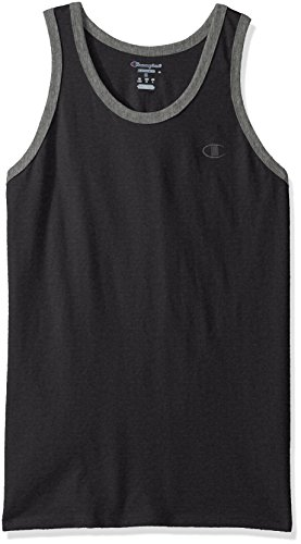 Champion Men's Classic Jersey Ringer Tank Top, Granite Heather/Oxford Gray Heather, XL
