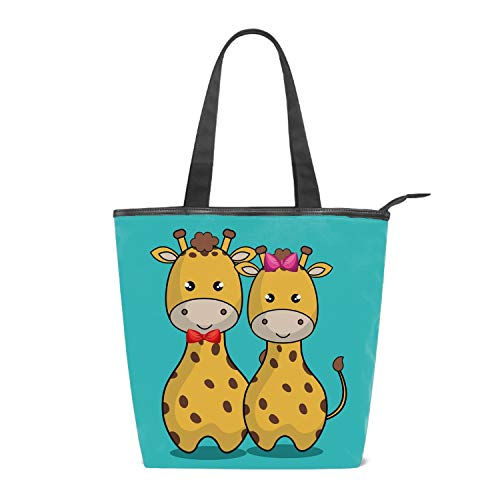 Giraffe Hobo (Womens Canvas Bag Hobo Bag Cute Giraffes Large Tote Messenger Shoulder Purse with Zipper Casual Work Travel Bags)