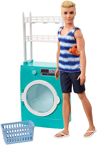 Barbie Ken Laundry Playset with Ken Doll, Spinning Washer/Dryer and 2 Accessories, Gift for 3 to 7 Year Olds