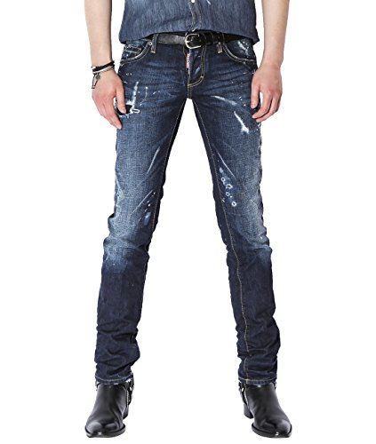 DSquared2 Men's Destroyed Slim Fit Jeans 48 (Acne Jeans Skinny Jeans)