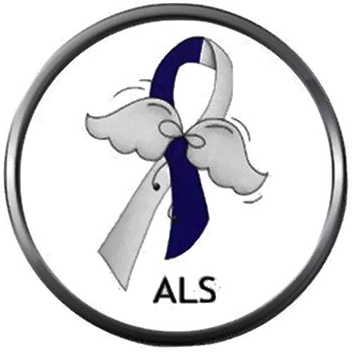 ALS Lou Gehrigs Disease Awareness Ribbon with Angel Wings Hope Find The Cure 18MM - 20MM Snap Jewelry Charm ()