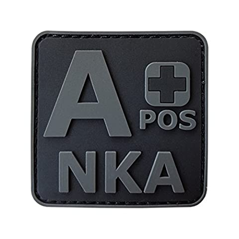 ACU All Black APOS A+ NKA Blood Type No Known Allergies Morale PVC Rubber Fastener Patch