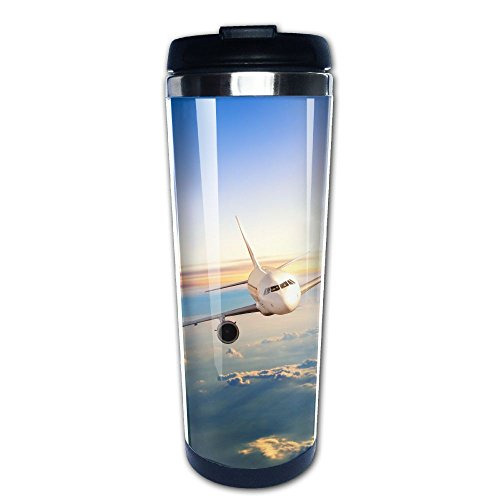 Kooiico Commercial Airplane Flying Above Clouds In Dramatic Sunset Light Coffee Mug Thermal Cup With Easy Clean Lid 14-Ounce Mug by Kooiico