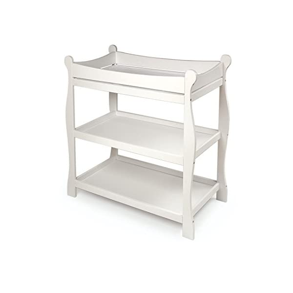 Sleigh Style Open Shelf Baby Changing Table with Pad
