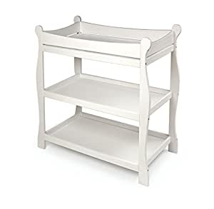Badger Basket White Sleigh Style Baby Changing Table
