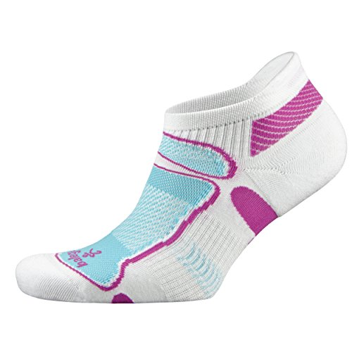 Balega Ultralight No Show Athletic Running Socks for Men and Women (1 Pair), White/Berry/Aqua, Medium