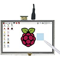 SunFounder 5 HD TFT LCD Touch Screen Monitor Display HDMI 800X480 for Raspberry Pi 3, 2 Model B and Raspberry Pi 1 Model B+