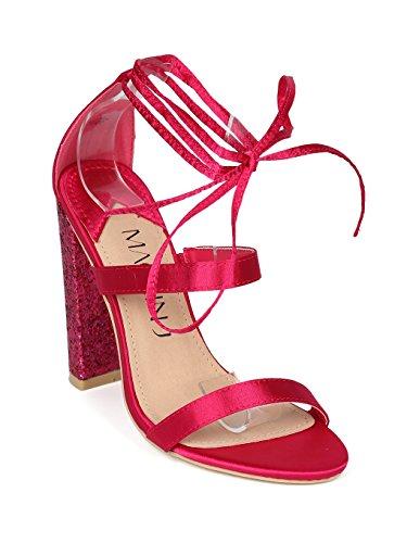 Alrisco Women Satin Strappy Ankle Wrap Glitter Block Heel Sandal HH22 - Fuchsia Satin (Size: 7.0) ()