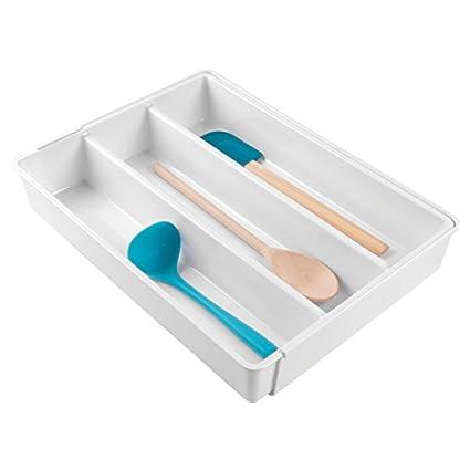 mDesign Cubertero antideslizante expandible con 4 divisiones – Organizador de cubiertos extensible para ordenar utensilios –