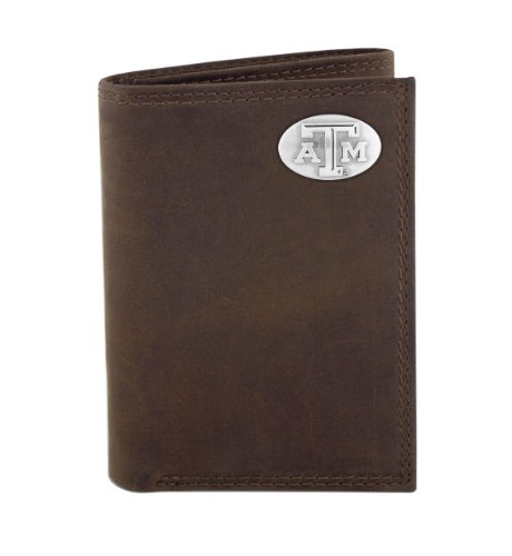 NCAA Texas A&M Aggies Zep-Pro  Crazyhorse Leather Trifold Concho Wallet, Light Brown ()