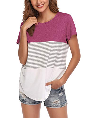 AUPYEO Women's Short Sleeve T Shirt Round Neck Color Block Stripe Top Casual Blouse ()