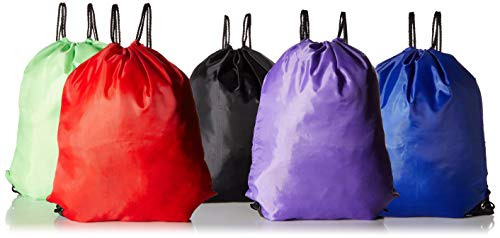 (Bulk 20 Pack Drawstring Backpack Sports Cinch Sack Assortment - 5 Colors in One Unit (Multi))