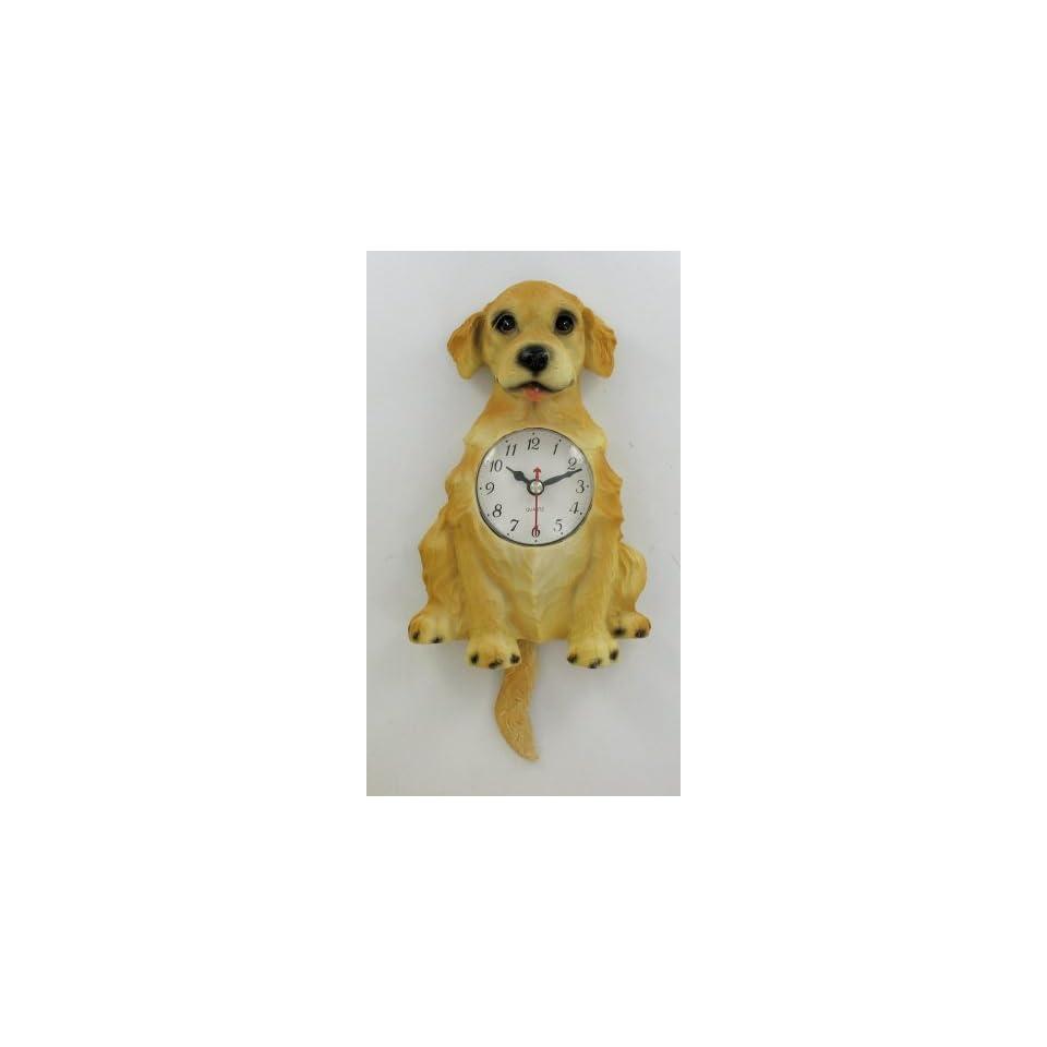Golden Retriever Dog Pendulum Wall Clock Tail Wags