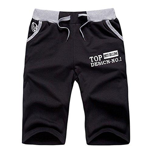 Bronze Times (TM) Mens Comfort Cotton Loose Gym Sports Shorts Trousers(black)